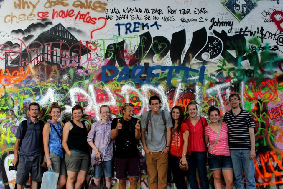 2014 Team Praha photo 17 from Ailalon Church - david, jana, leah, kathleen, eli, aijalon, gabriella, abby, grace, jared farnik at leninwall-mary copy 2
