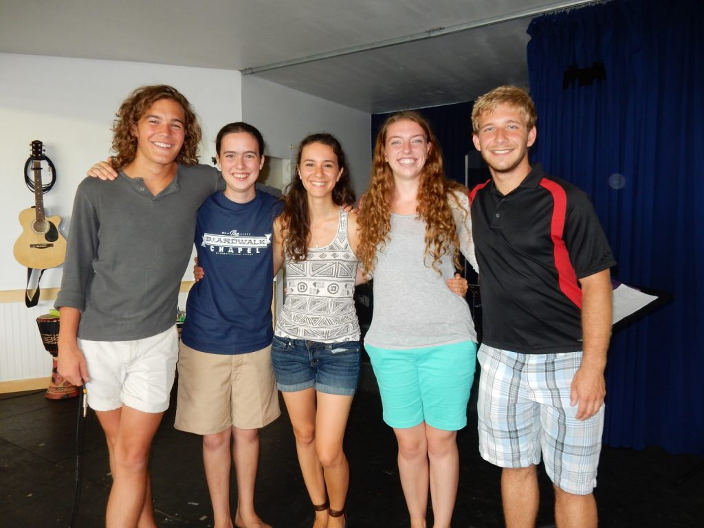 Griffin Adams, Jedidiah English, Ginnie Corsello, Megan Siegle, Nate Cochran, Boardwalk Chapel 2015, photo by Janet B.