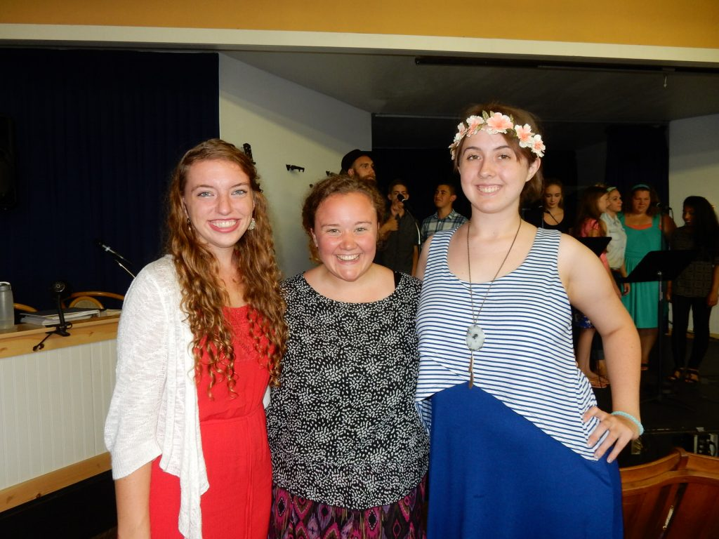 Megan Siegle, Calli-jade English, Kailey Damron, Boardwalk Chapel 2015, photo by Janet B.